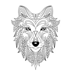 Wolf head coloring book vector