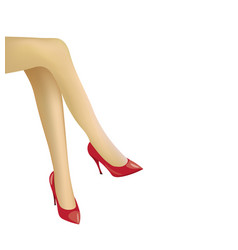 woman crossed legs with red high heels shoes vector image