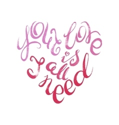 Words of love lettering confession written in vector image