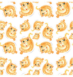 yellow cat seamless pattern vector image
