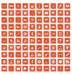 100 mens team icons set grunge orange vector