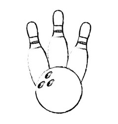 bowling pin sport ball sketch vector image