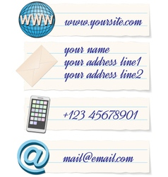 contact info template vector image