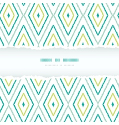 Green ikat diamonds torn frame seamless patterns vector image vector image