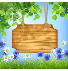 Wooden sign board summer day natural background vector