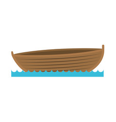 Color silhouette wooden fishing boat in lake vector