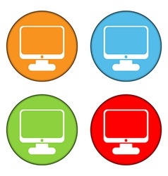 Computer button set vector image