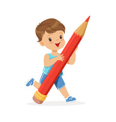 cute little boy holding giant red pencil cartoon vector image vector image