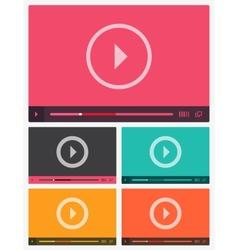 Modern flat video player interface vector image