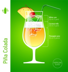 Pina Colada cocktail vector image
