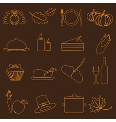 thanksgiving symbols color outline icons set eps10 vector image