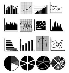 chart graph icons set vector image