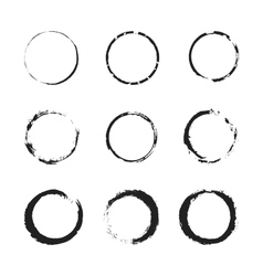 Grunge circle border set vector image