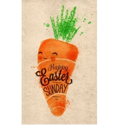 Happy easter carrot poster kraft vector image vector image