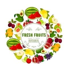 Natural fresh fruits round label design vector image vector image