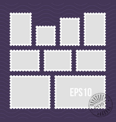 postage stamps with perforated edge and mail stamp vector image vector image