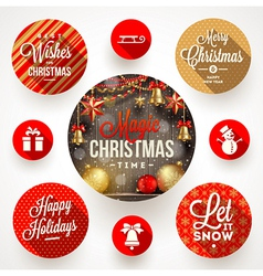 Set of round frames with Christmas greetings and vector image