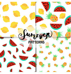 set of summer patterns vector image vector image