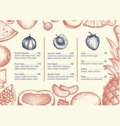 vegan restaurant menu hand drawn design vector image vector image