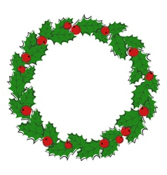 Flat Christmas wreath with holly sprigs isolated vector image