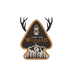 hiking club badge scout adventure camp emblem vector image vector image
