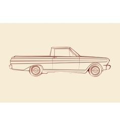 American muscle car pickup silhouette 60s vector