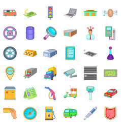 Auto mechanic icons set cartoon style vector