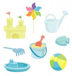 Beach toys icons set vector