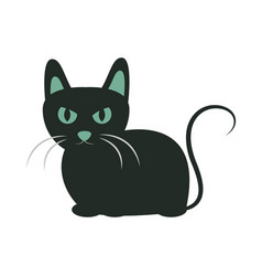black cat with eyes and ears green animal cartoon vector image