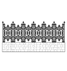Black wrought iron fence vector
