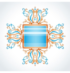 Blue and orange brooch vector