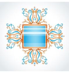 Blue and orange brooch vector