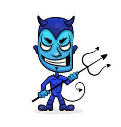blue devil head vector image