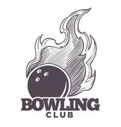 bowling club logo monochrome sketch outline icon vector image