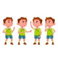 Boy kindergarten kid poses set preschooler vector