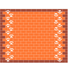 Brick wall with animal paw prints background vector