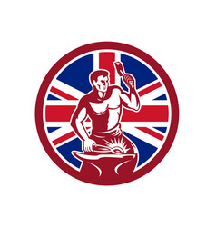 British blacksmith union jack flag icon vector