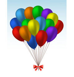 bunch of realistic colorful helium balloons vector image