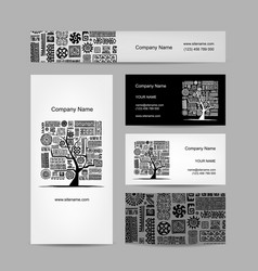 business cards design ethnic tree vector image