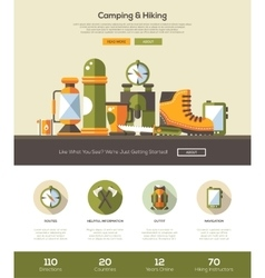 Camping hiking website template with header and vector image