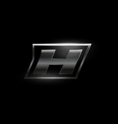 Carbon speed letter h logo dark matte metal vector