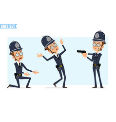 cartoon british policeman boy character set vector image