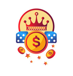 Casino modern club promotional logotype with royal vector