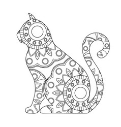 Cat coloring book antistress colorin vector