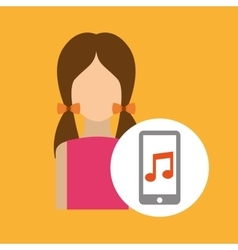 character pink dress smartphone music application vector image