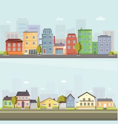 City outdoor day landscape house and street vector
