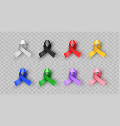 Colorful 3d cancer awareness ribbon isolated set vector