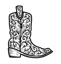 cowboy boot with floral pattern design element vector image