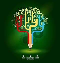 Creative pencil concept Growth Tree idea Modern te vector