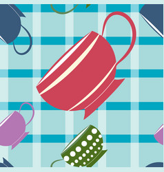 cups and checkered background seamless pattern vector image
